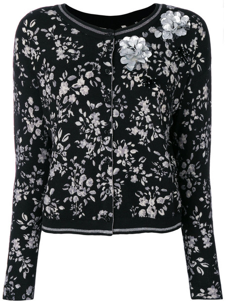 Twin-Set - sequinned floral cardigan - women - Wool - L, Black, Wool