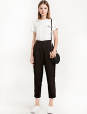 pants,black high waist peg trousers,peg pants,high waisted pants,black pants,pixie market,cigarette pants
