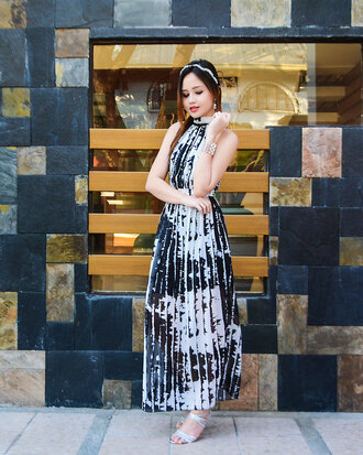 dress maxi dress black and white summer fashion style pattern stylish print