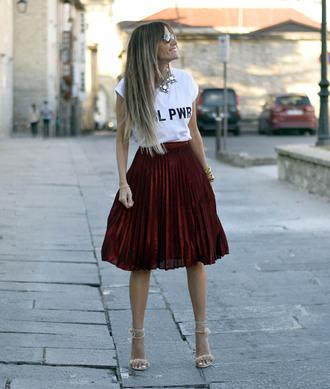 rebel attitude blogger skirt shirt shoes t-shirt pleated skirt nude heels high heel sandals