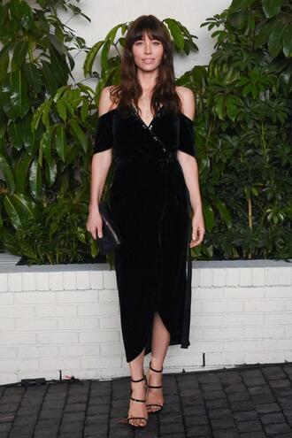 dress jessica biel black dress midi dress sandals