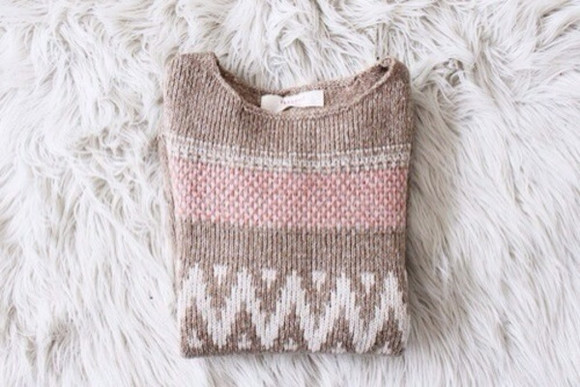 sweater pink jumper knitted white winter sweater cute brown winter pastel vintage weheartit round neck nice