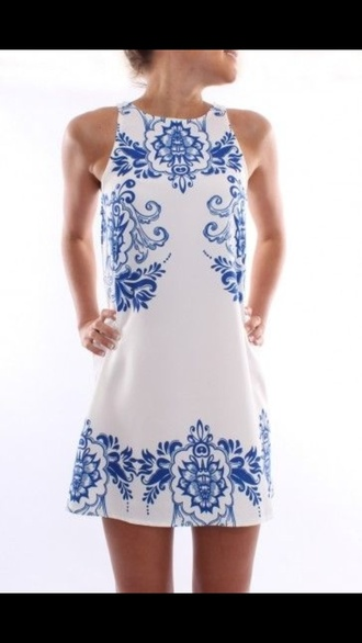 dress white dress summer dress outfit clothes floral dress fashion trendy gossip girl pants top style shift dress blue white china pattered  dress