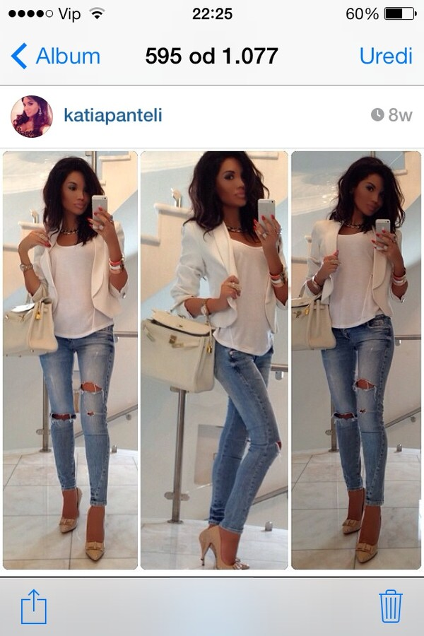 jeans ripped skinny jeans light jacket white blazer blouse white top