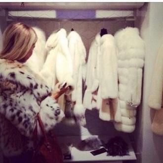 jacket white jacket fur coat