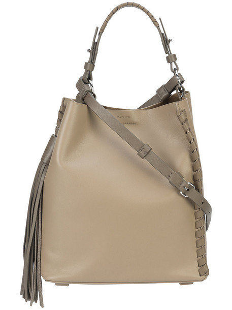 All Saints tassel women bag shoulder bag leather nude