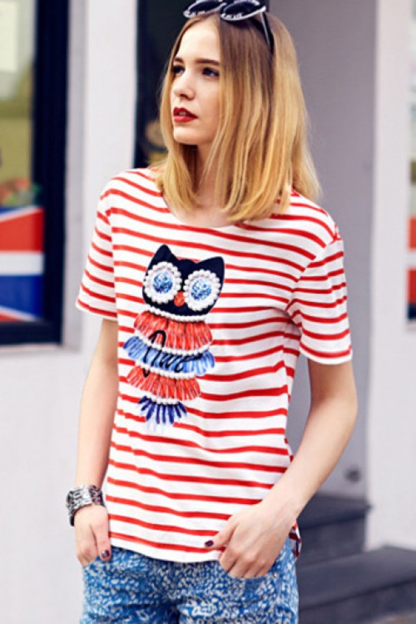 t-shirt kcloth owl stripes stripes blue owl printed striped t-shirt striped t-shirt red t-shirt blue skirt blue shirt