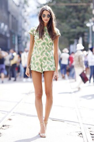 jumpsuit green print short short jumpsuit lovely summer girl girly cute fashion fashion blogger summer outfits sexy sexy outfit gorgeous tall women lady high heels sunglasses lovely outfits clothes fashion toast streetwear streetstyle shot from the street blogger sexy sweater cute high heels bag stylish