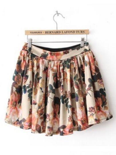 795f3350bc Beige High Waist Floral Pleated Skirt - Sheinside.com