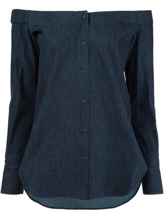 shirt women cotton blue top