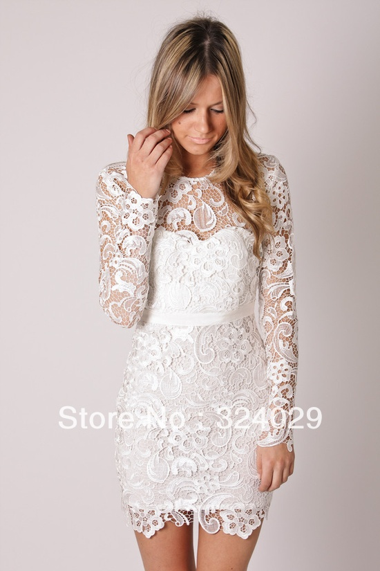 Free Shipping New Arrival Knee Length Short Lace Wedding Dress Reception Dress-in Wedding Dresses from Apparel & Accessories on Aliexpress.com