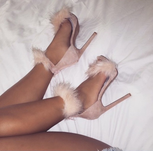pink heels fluffy furry heels nude sandal heels