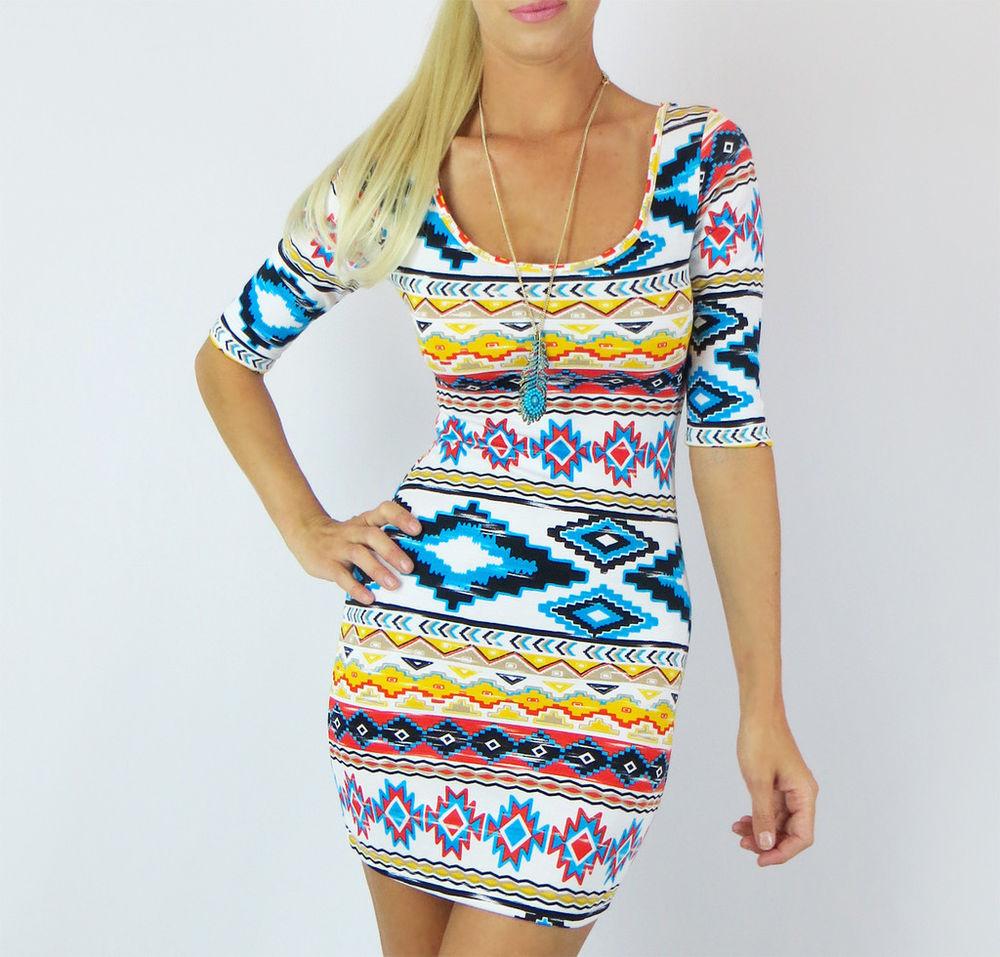 Tribal Print Red Blue Aztec Scoop Neck Casual Bodycon Knit Mini Shirt Dress M | eBay
