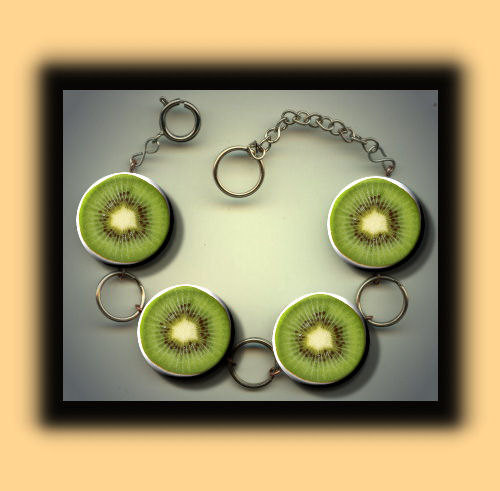 KIWI green Australian fruit slices Charm Bracelet with door Yesware