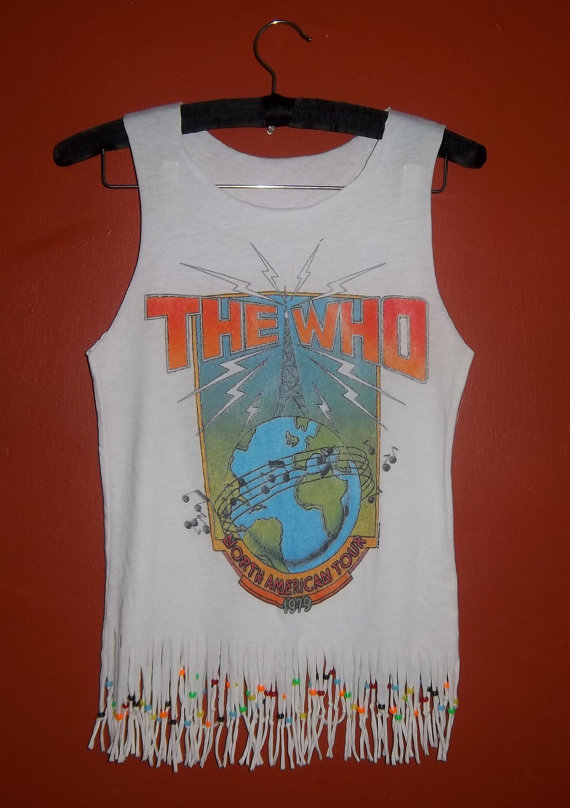 Vintage the who concert tank top fringe and beads by thewasteland