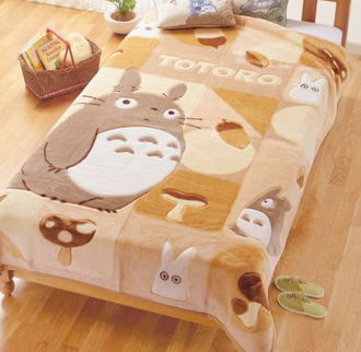 totoro bedding kawaii brown home accessory blanket kids room