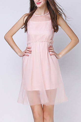 dress dezzal pink mesh see through sleeveless dress style pastel prom