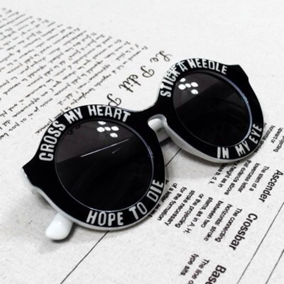 sunglasses vintage round sunglasses black cute beautiful sexy white quote on it love it so much circle sun glasses big sunglasses