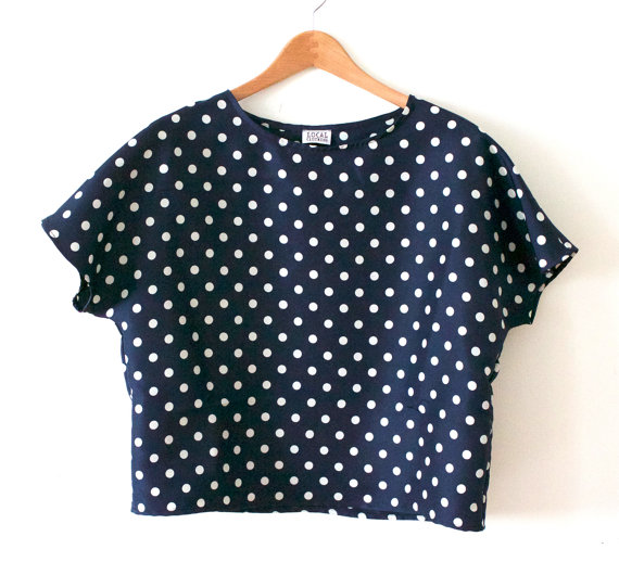Silk taffeta navy with white dot printed crop by localclothingnyc
