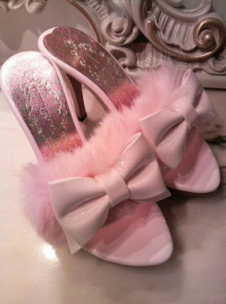 baby pink bows fluffy feathers slippers vintage shoes for her