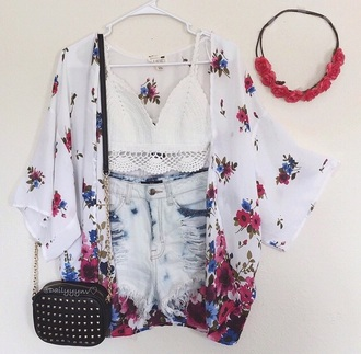shorts ripped shorts high waisted shorts high waisted denim shorts kimono crop tops white crop tops bags and purses black purse floral kimono cardigan top