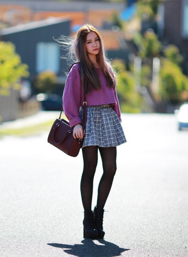 chloe ting sweater skirt bag