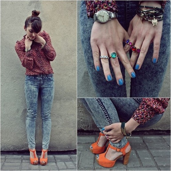 rings orange shoes pants blue nails hair updo blouse colours jewels shoes