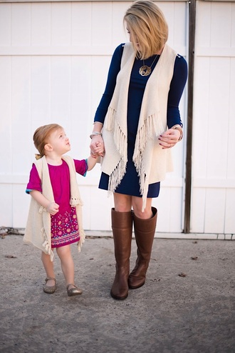something delightful blogger dress sweater jacket shoes jewels bag mother and child knee high boots brown boots fall outfits blue dress