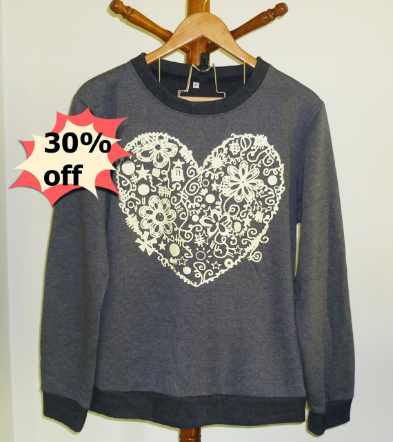 Gray shirt flower heart sweatshirt size s m l xl xxl cute sweater winter clothes
