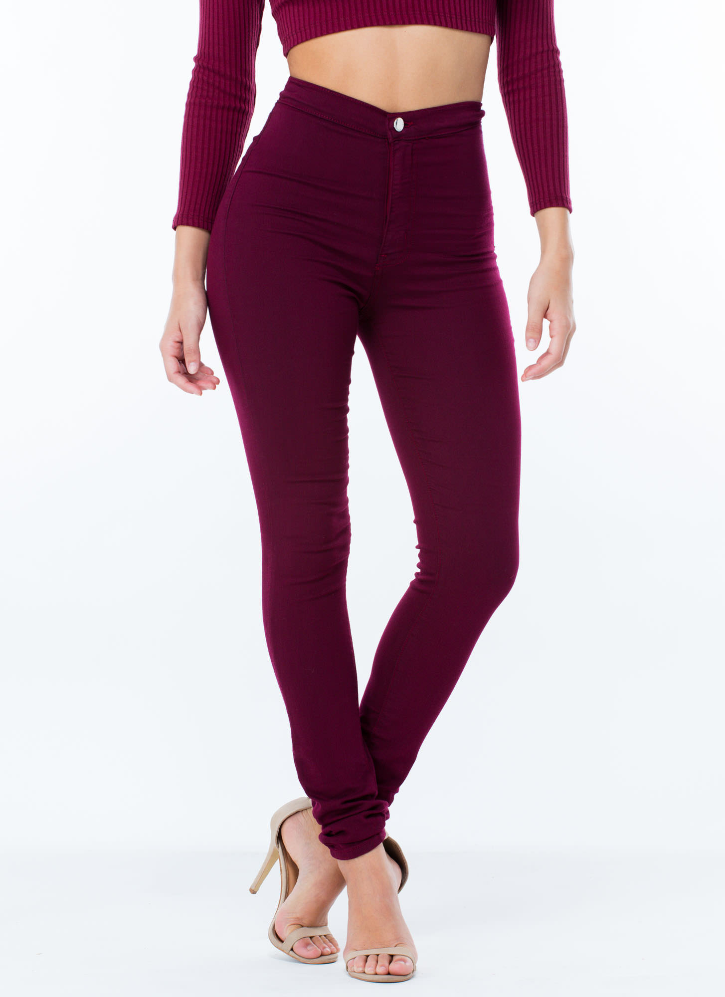 High Waist Skinny Jeggings BLACK BURGUNDY - GoJane.com - Waist Skinny Jeggings BLACK BURGUNDY - GoJane.com
