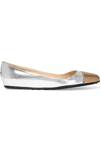metallic ballet embellished flats ballet flats leather silver bronze shoes