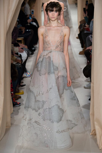 dress gown see through clouds valentino fashion week 2015