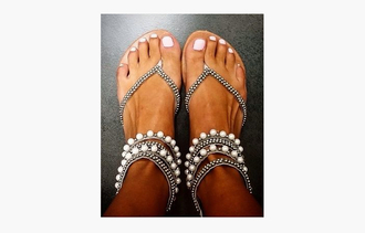 shoes sandals beaded pearl feet open toes