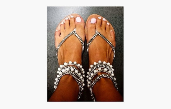 pearls shoes sandals beads feet