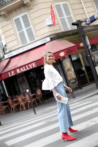 shoes tumblr boots red boots denim jeans blue jeans wide-leg pants white blouse blouse bell sleeves