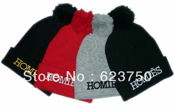 Hot Sale HOMIES With Pom Beanie in Black Grey Red Beanies Hats Fashion street hip hop caps new arrival winter knitted Cap Hat-in Skullies & Beanies from Apparel & Accessories on Aliexpress.com