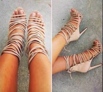 shoes nude heels beige strap up shoes open toe heels