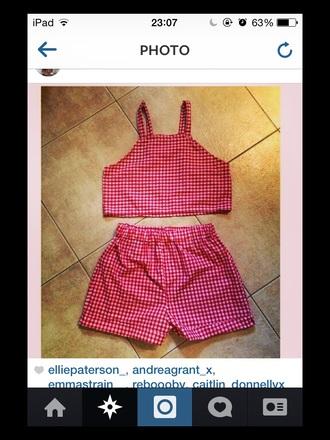 gingham shorts shirt set high waisted shorts plaid shorts plaid shirt crop tops