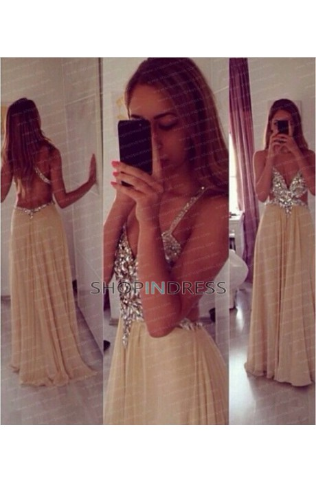 Line sweetheart floor length chiffon yellow evening dress with beaded npd098059 sale at shopindress.com