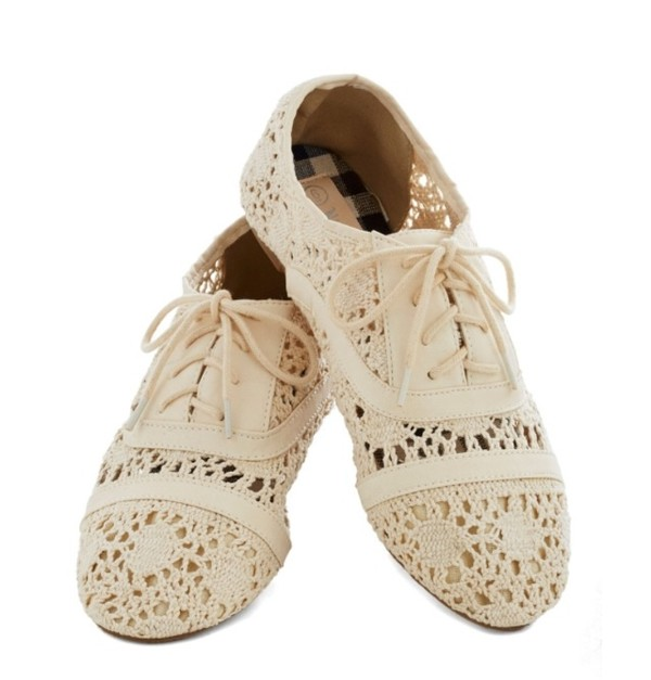 Womens Wedge Oxford Shoes Cream