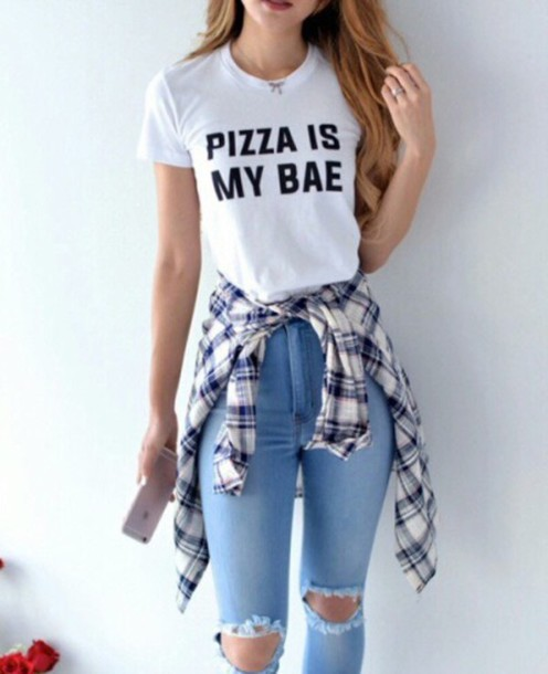 t-shirt pizza is my bae white sweater tumblr