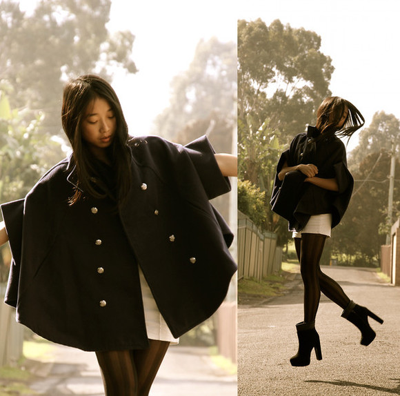 coat cape cute black kawaii outwear boots shoes stripes shorts stockings