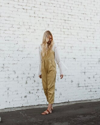 jumpsuit tumblr cropped jumpsuit sandals flat sandals blouse white blouse bell sleeves shoes