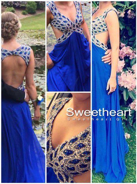 Line backless rhinestone chiffon prom dresses, evening dresses