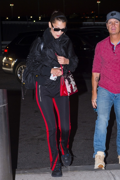 bag pants bella hadid model off-duty jacket