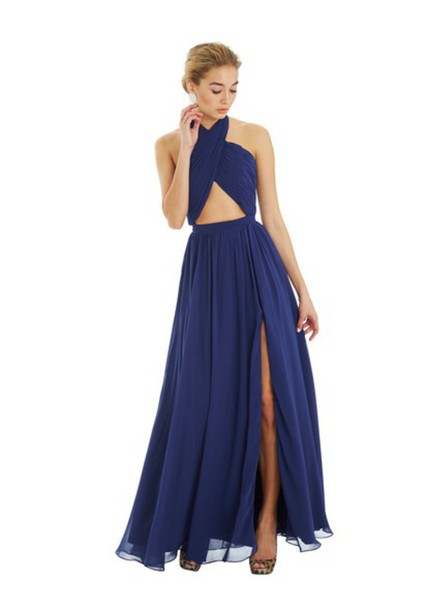 dress navy slit dress formal