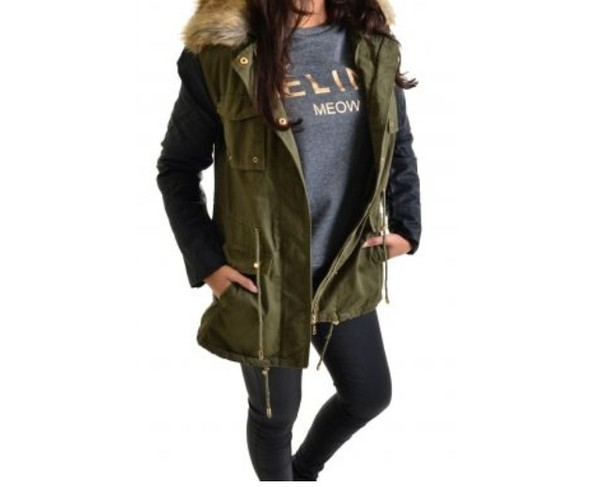 coat parka army green