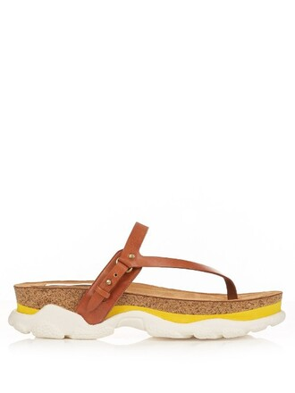 sandals leather white yellow shoes