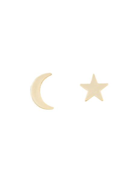 women moon earrings gold grey metallic jewels