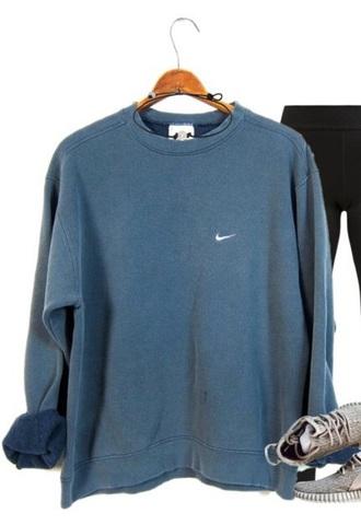 sweater nike blue oversized